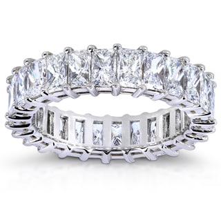 Annello 14k White Gold 3ct TDW Princess Baguette Diamond Eternity Band (G-H, VS1-VS2)