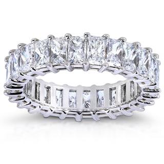 Annello 14k White Gold 3ct TDW Princess Baguette Diamond Eternity Band (G-H, VS1-VS2)