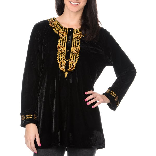La Cera Women's Embroidery and Sequin Velvet Tunic 14477101
