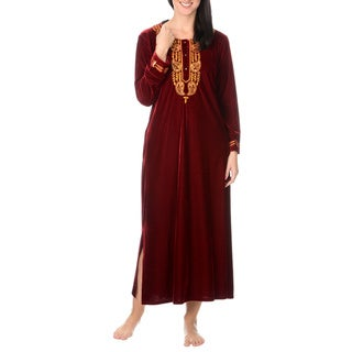 La Cera Women's Embroidery Velvet Full Length House Coat