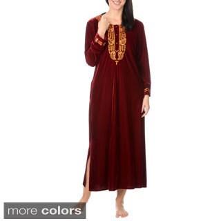 La Cera Women's Embroidery Velvet Full Length House Coat