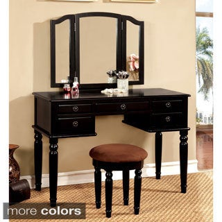 Furniture of America Donyelle 2-Piece Vanity Table and Stool Set