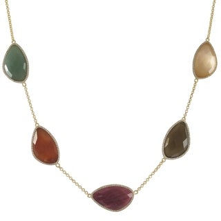 Sterling Silver Gold Finish Multi-color Semi Precious Gems Surrounded with Cubic Zirconia Necklace