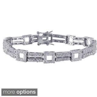 Sterling Silver Cubic Zirconia Open Squares 2-row Tennis Bracelet