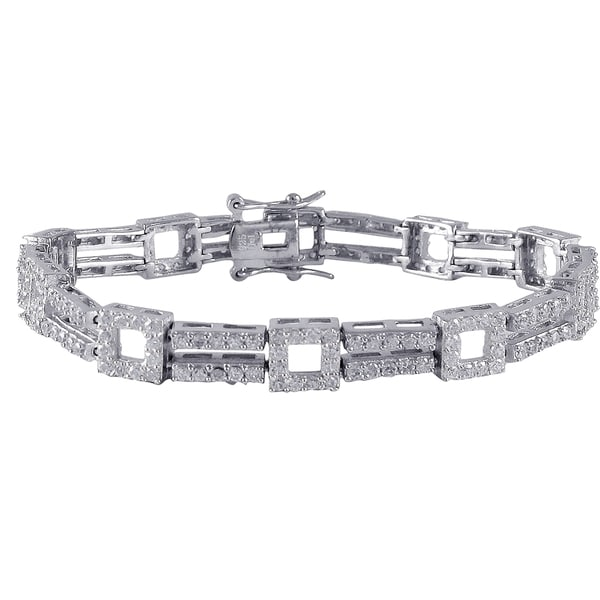 Sterling Silver Cubic Zirconia Open Squares 2-row Tennis Bracelet