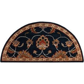 Hand-tufted Shelia Navy/Ivory Wool Rug (2' x 4' Hearth)