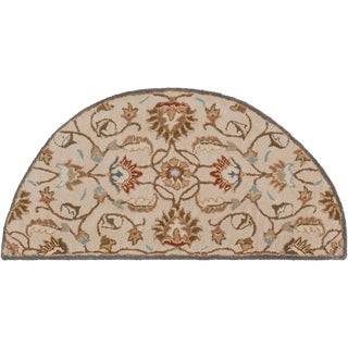 Hand-tufted Micah Beige/Green Wool Rug (2' x 4' Hearth)