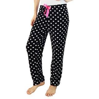 Vecceli Italy Women's Black Polka-Dot Pajama Pants