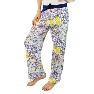 Vecceli Italy Women's Purple and Yellow Floral Print Pajama Pants