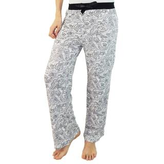 Vecceli Italy Women's Grey Jacobean Print Pajama Pants