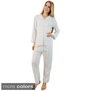 Vecceli Italy Women's Soft Plaid Pajama Set