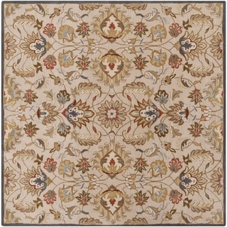 Hand-tufted Micah Beige/Green Wool Rug (9'9 Square)