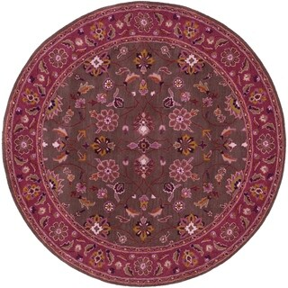 Hand-tufted Ricky Purple/Brown Wool Rug (6' Round)