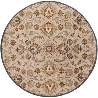Hand-tufted Micah Beige/Green Wool Rug (8' Round)