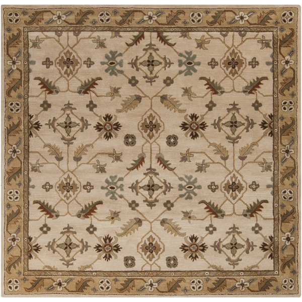 Hand-tufted Wendy Beige/Green Wool Rug (4' Square)