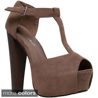 Breckelle's Women's 'Brina-01W' Chunky Heel Peep-toe Pumps