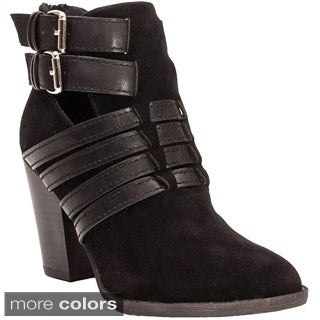 Breckelle's Women's 'Heather-35W' Strappy Chunky Ankle Boots