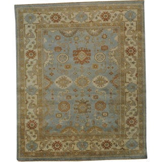 Hand-knotted Washed-out Oriental Oushak Wool Area Rug (8' x 10')