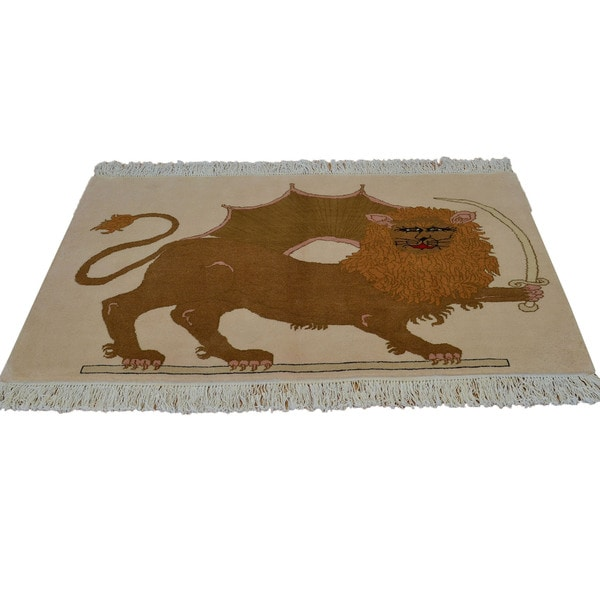 Persian Hand-knotted Achaemenid Empire Yazd Lion Area Rug (3' x 5')