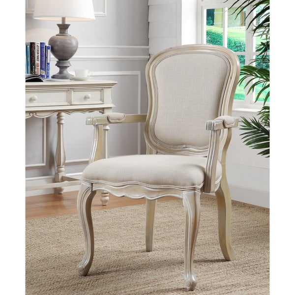 Overstock Living Room Chairs : Ivory Finish Accent Chair - Overstock Shopping - Great ...