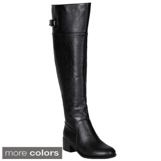 Breckelle's Women's 'Capital-15' Buckle Strap Knee-high Riding Boots