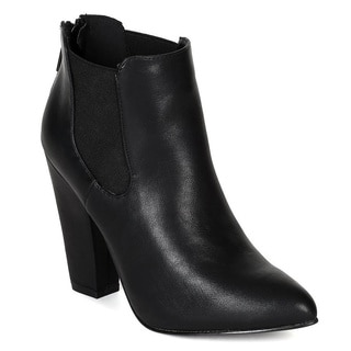 Breckelle's Women's 'Nina-25' Elastic Chunky Ankle Booties