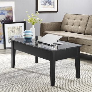 Avenue Greene Black Faux Marble Lift Top Coffee Table