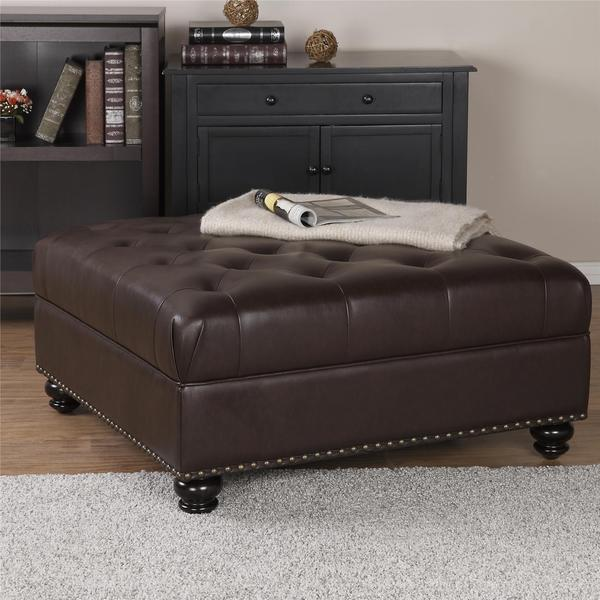 Elements Rubbed Medium Brown Wood Ottoman ~ Dorel living hastings brown tufted faux leather ottoman