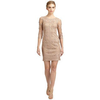 Sue Wong Sophisticated Embroidered Overlay Ribbon Taupe Cocktail Dress