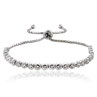 ICZ Stonez Silver Cubic Zirconia Adjustable Pull-String Bracelet