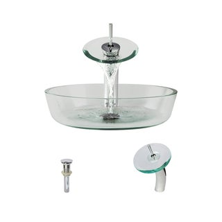 MR Direct 625 Clear Glass Vessel Sink and Faucet