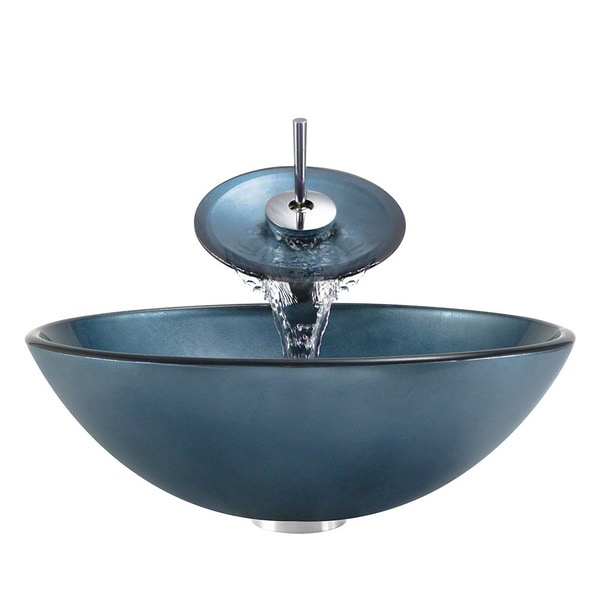 MR Direct 633 Blue Tempered Glass Bathroom Vessel Sink/ Faucet