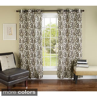 Ikat Plume Grommet Top 84-inch Curtain Panel Pair