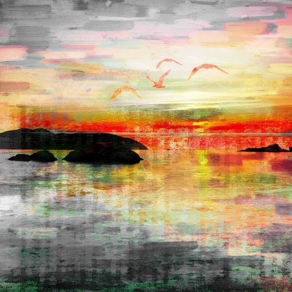 Parvez Taj 'Birds in the Sunset' Canvas Art