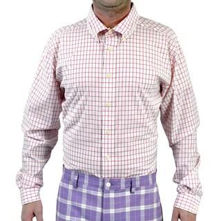 FootJoy Men's Performance Woven Windowpane White/ Pink Long Sleeve Shirt (2XL)