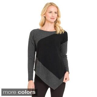 Premise Women's Cashmere Colorblock Asymmetrical Hem Pullover