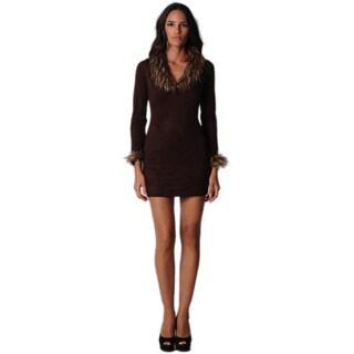 Sara Boo Brown Faux Fur dress