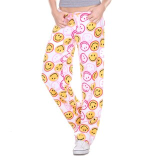 Stanzino Women's Smiley Print Plush Pajama Pants