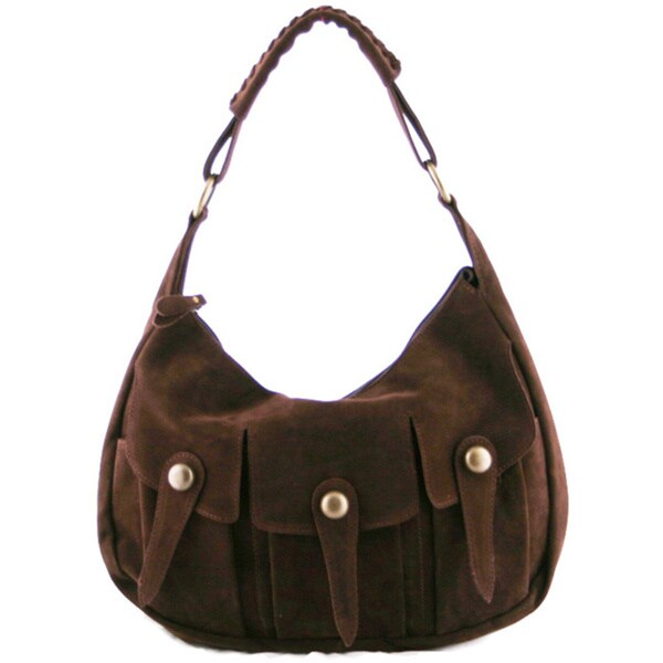 24/7 Comfort Apparel Faux Suede Tri-pocket Handbag