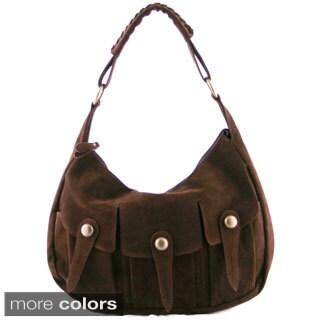 24/7 Comfort Apparel Faux Suede Tri-pocket Handbag