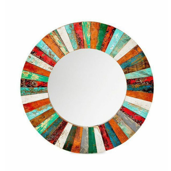 Compass Rose Reclaimed Wood Mirror