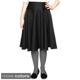 Baby'O Women's Fit and Flare Quilted Knit Circle Knee Length Skirt