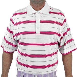FootJoy Golf Men's Tahoe White/ Hot Pink Stretch Pique Stripe Polo