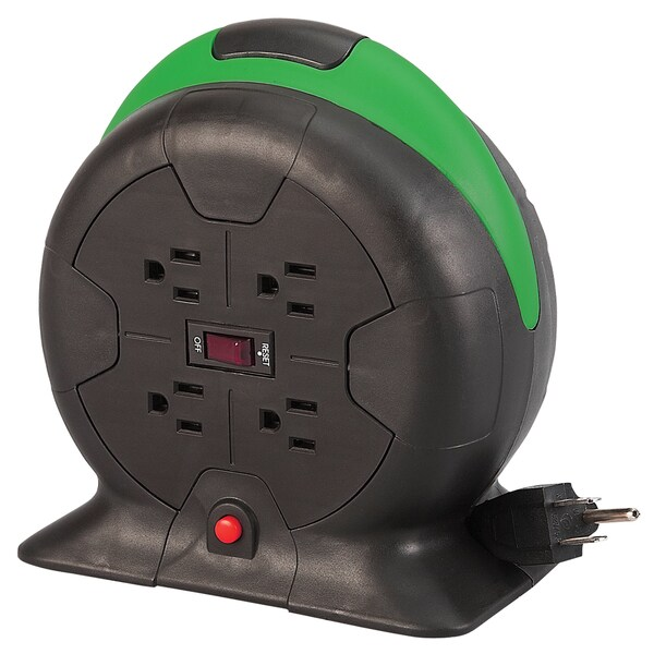 Designcord 10-foot 16/3 AWG Auto-Rewind Extension Cord Reel