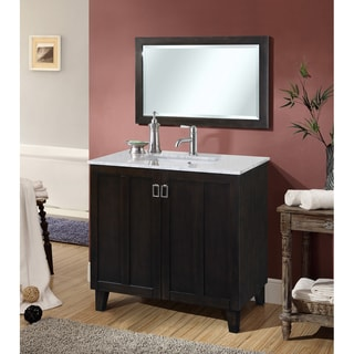 Dark Brown 36-inch Carrara White Marble Top Single Sink Bathroom Vanity with Matching Framed Wall Mirror