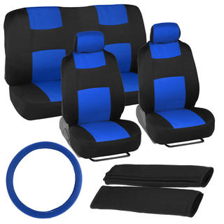 BDK Universal Fit 11-piece Car Seat Covers - Black/ Blue