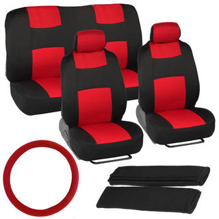 BDK Universal Fit 11-piece Car Seat Covers - Black/ Red