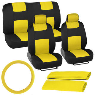 BDK Universal Fit 11-piece Car Seat Covers - Black/ Yellow