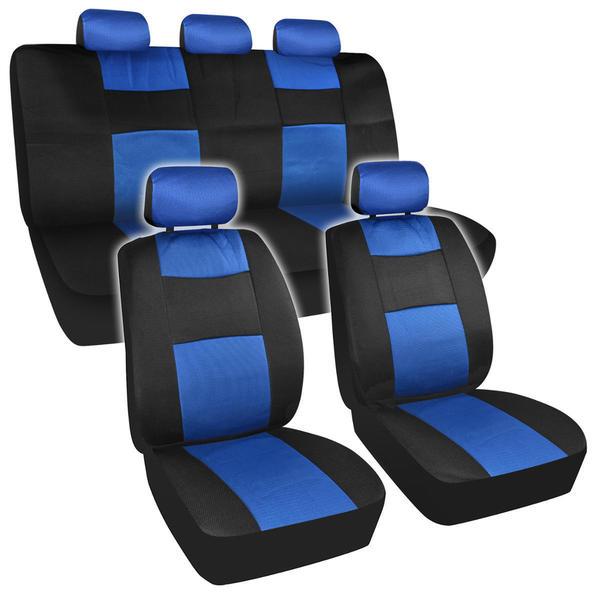 BDK Universal Fit 11-piece Premium Fresh Mesh Car Seat Covers - Black/ Blue 14483702