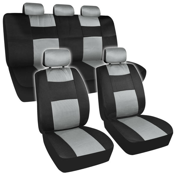 BDK Universal Fit 11-piece Premium Fresh Mesh Car Seat Covers - Black/ Grey